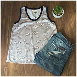 Current Air Anthropologie Silver Grey Elephant Top